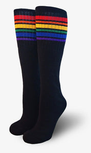 "Pride Brave 14"" Jr  Tube Socks Black w Rainbow"