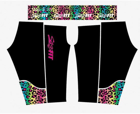 Sassfit Fluro Leopard 3/4 Compression Tights