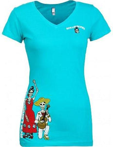 Bones Rollerbones Women's Day Of The Dead V Neck Shirt Turquoise
