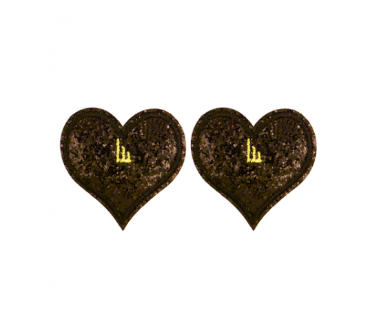 Shwings Clip on Heart Glitter Black - Pair