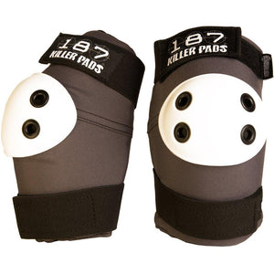 187 Elbow Pads Regular Grey w/ White Caps