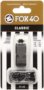 FOX40 Classic Whistle with Lanyard - Black