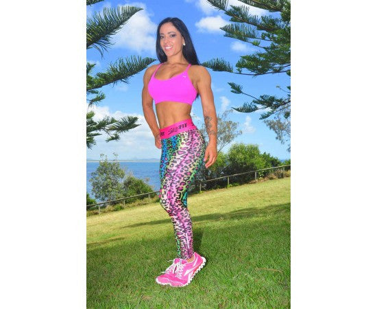 Sassfit Fluro Leopard Full Length Compression Tights Size Xsmall