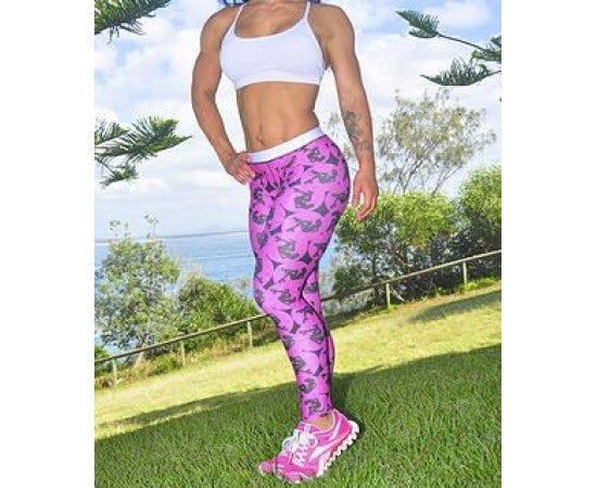 Sassfit Derby Girls Pink Full Length Compression Tights