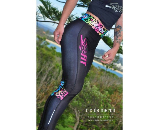 Sassfit Fluro Leopard Full Length Compression Tights Xsmall