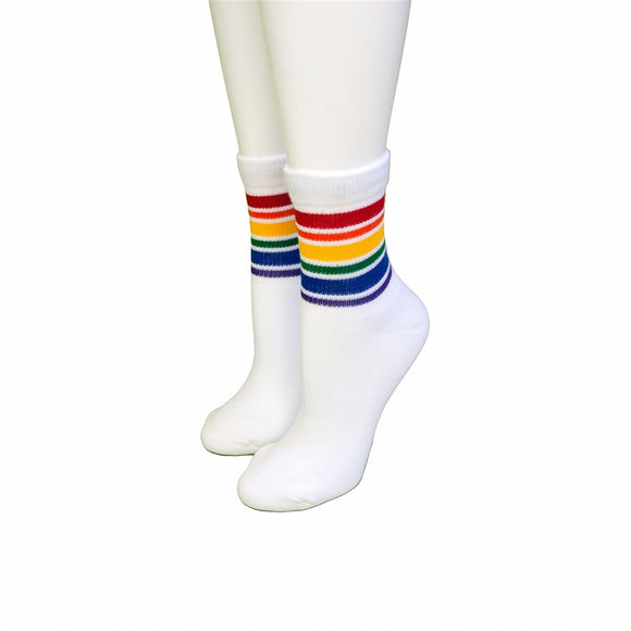 Pride Fearless Low Cut Tube Socks White w Rainbow M