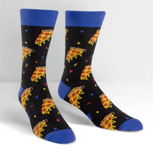 Sock it to Me Pizza Party Mens Crew Socks