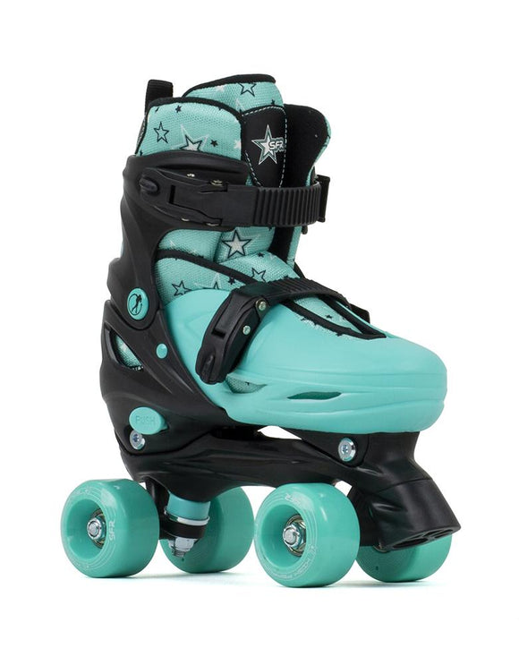 SFR Nebula Kids Adjustable Quad Skates - Black Green
