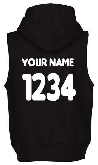 Sleeveless Hoodie Black w/ Name & Number