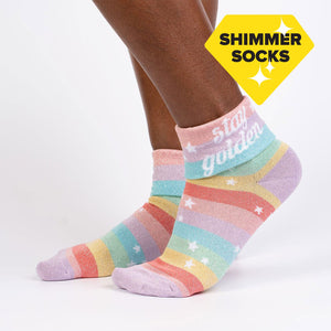 Sock it to Me Stay Golden Turn Cuff Crew Socks
