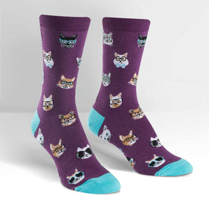 Sock it to Me Smarty Cats Womens Crew Socks