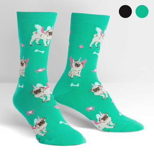 Sock it to Me Pugasus Teal Womens Crew Socks