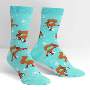 Sock it to Me Peppermint Squirrels Womens Crew