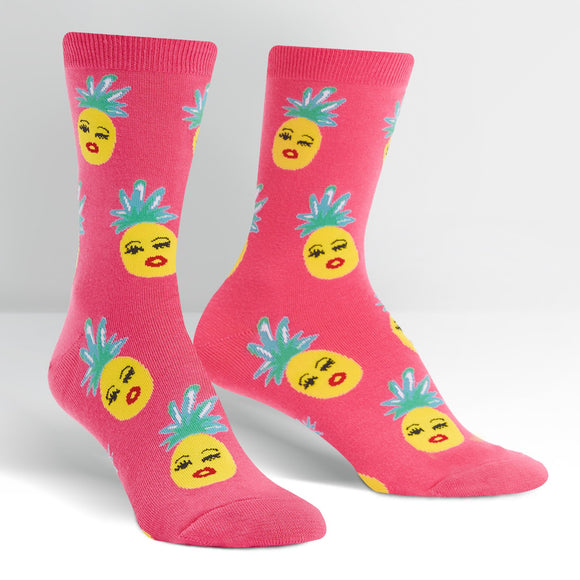 Sock it to Me Sassy Pineapples - Kendra Dandy Design Womens Crew Socks