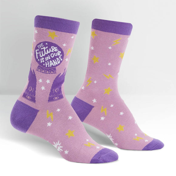 Sock it to Me Future is in Our Hands - Hello Lucy Womens Crew Socks