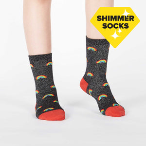Sock it to Me Glitter over the Rainbow Junior (aged 7-10) Crew Socks