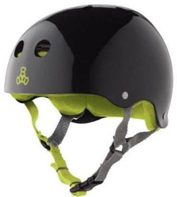 Triple 8 Brainsaver Helmet Black Gloss W/Green Liner