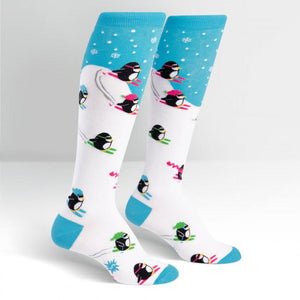 Sock it to Me Downhill Penguins Knee High Socks