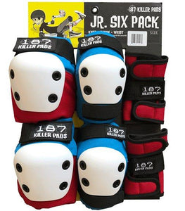 187 Junior Pad Six Pack Red/White/Blue (Knee, Elbow, Wrist)