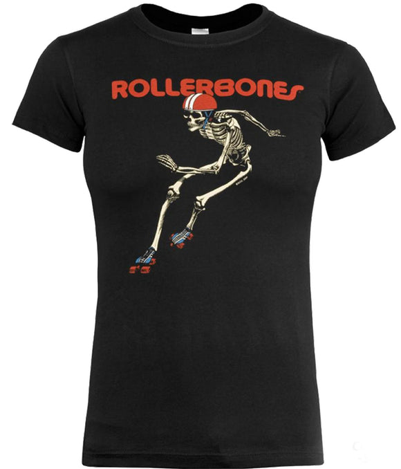 Rollerbones Woman's Derby T-shirt Black Size Medium