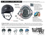 S1 Lifer Helmet Black Matte with Cyan Blue Straps SMALL