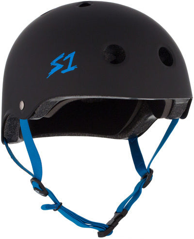 S1 Lifer Helmet Black Matte with Cyan Blue Straps