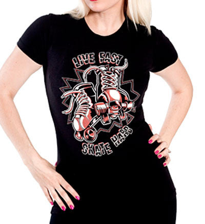 Sourpuss Skate Hard Roller Derby Black T Shirt
