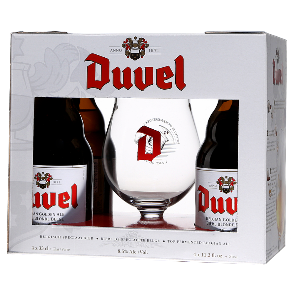 Duvel Gift Pack (4x 330ml Bottles & 1 Glass)