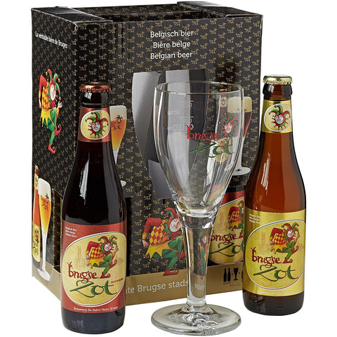 Brugse Zot 2x Dubbel & 2x Blond Gift Pack (33cl Beers + Glass)