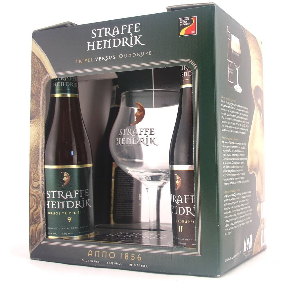 Straffe Hendrik Gift Pack (2 x Tripel + 2 x Quadrupel 33cl Beers + Glass) - The beer shop by Moondog's