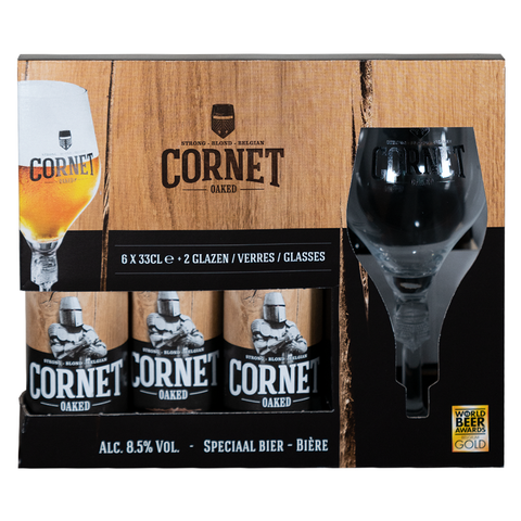 Cornet Blond Oaked Gift Pack (6 X 33cl + 2 Glasses)