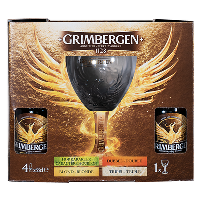 Grimbergen Gift Pack (4 X 33cll + Glass)
