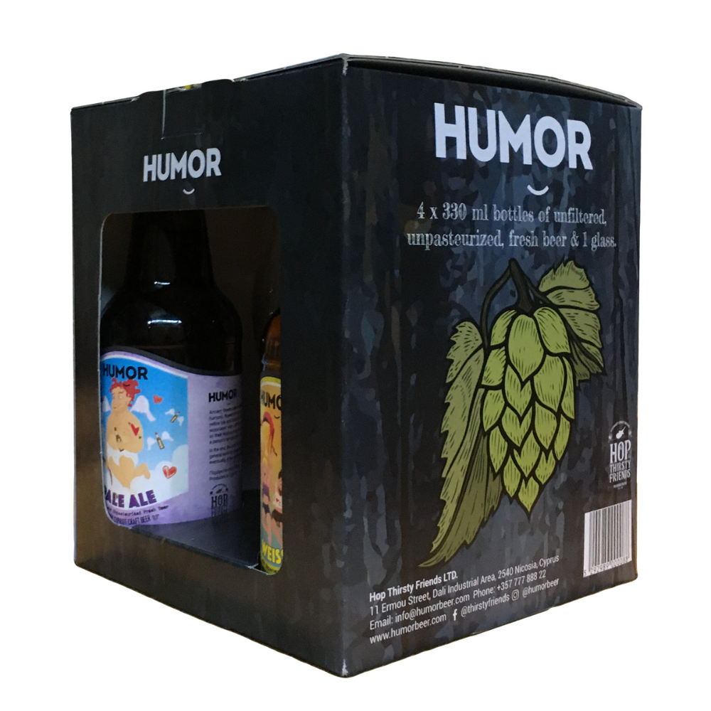 Humor Gift Pack (4 x 330 ml Beers + Glass)