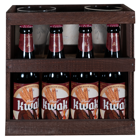 Kwak Gift Pack 4 x 33cl + 2 Glasses (Wooden Base)