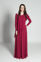 Grecian Flounce Dress - Berry