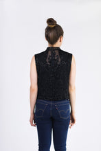 Beaded Cropped Vest - Black