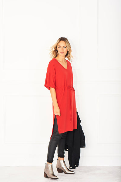 fire engine red cashmere dress