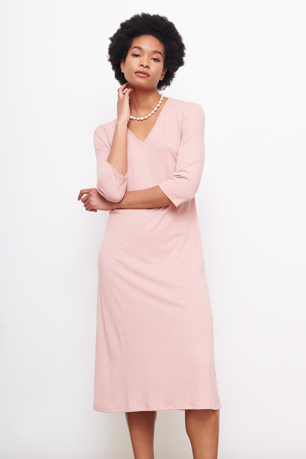 v-neck-dress-pink-three-quart-sleeve-midi-cooling-wicking-breathable-cucumber-clothin