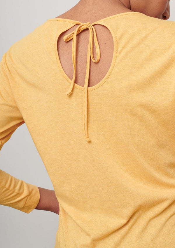yellow-keyhole-back-long-sleeve-tee-sustainable-wicking-cooling-cucumber-clothing