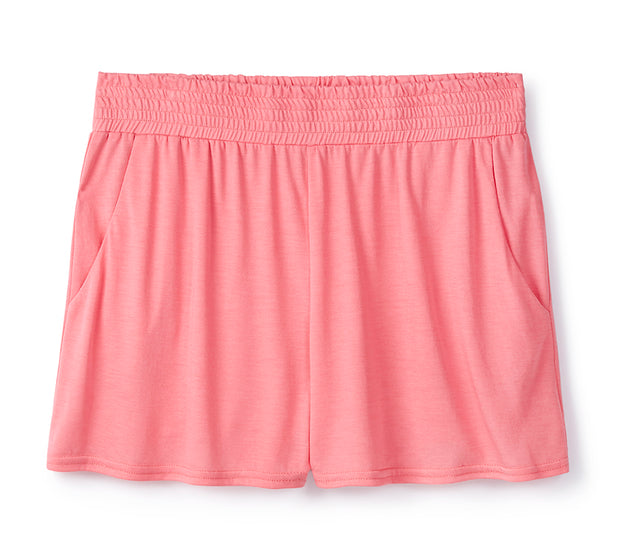 Raspberry Shirred Shorts in 37.5® Technology Jersey
