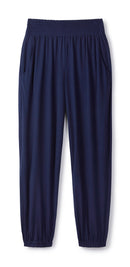 navy-shirred-track-pants-cucumber-clothing-luxury-performance-clothing