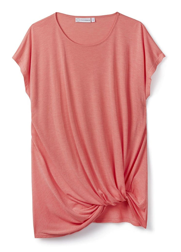 Coral Drape Knot Tee in 37.5® Technology Jersey