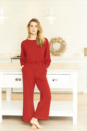 red women's jumpsuit