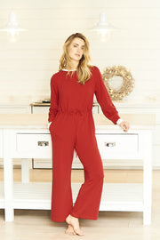 red jersey jumpsuit