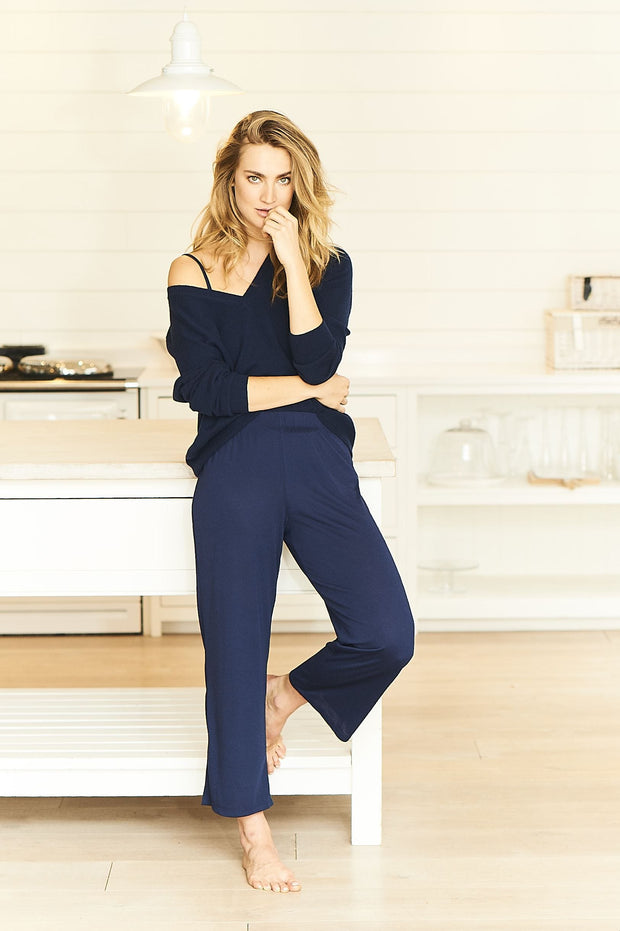 Navy Cropped PJ Bottoms