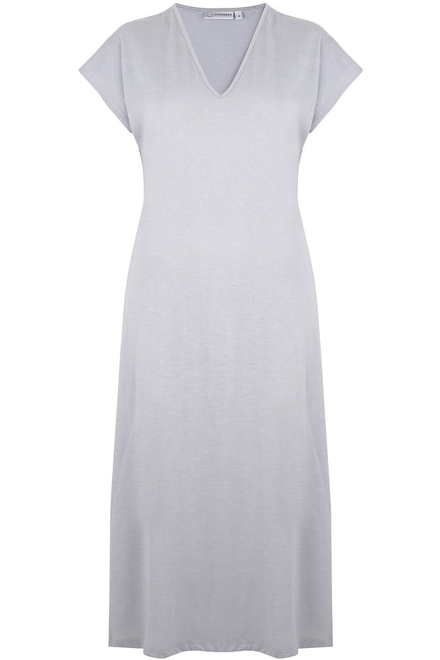 V Neck Dress in Silver