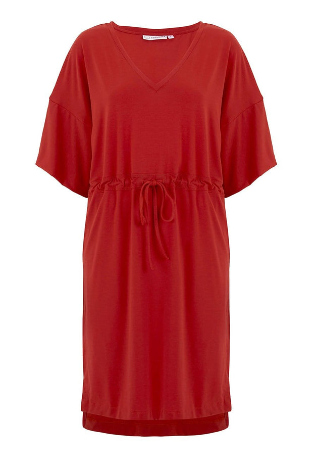 Cashmere Kimono Dress in Fire Engine Red