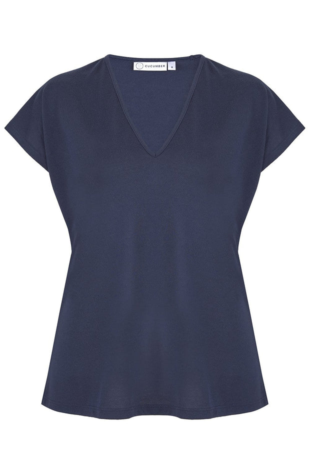 Navy V Neck Top