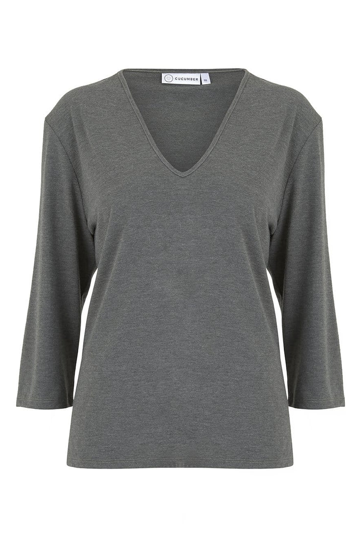 Moss V Neck Three Quarter Sleeve Top