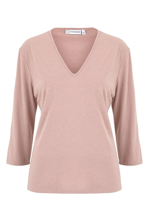 Rose V Neck Three Quarter Sleeve Top